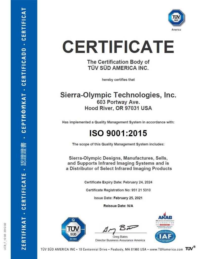 Sierra-Olympic Technologies ISO 9001 certificate